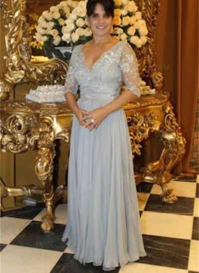 Chiffon 1/2 Sleeves Mother of the Bride Dresses V-neck A-Line/Princess Ruffle Floor-Length (008212774)