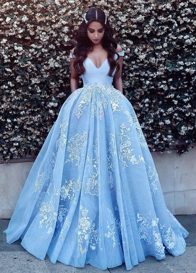 Sweetheart Prom Dresses Ball-Gown Sweep Train Off-the-Shoulder Sleeveless (018148398)