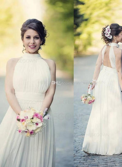 Sexy Chiffon Wedding Dresses A-Line/Princess Floor-Length Halter Sleeveless (002147935)