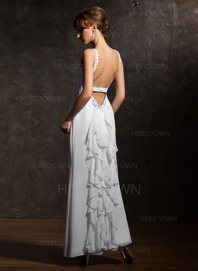 Luxuriös Chiffon Abendkleider Knöchellang A-Linie/Princess-Linie Ärmellos V-Ausschnitt (017020735)