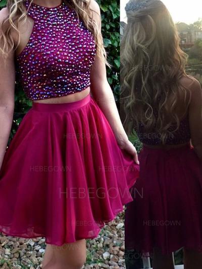 A-Line/Princess Beading Homecoming Dresses Scoop Neck Sleeveless Detachable (022212293)
