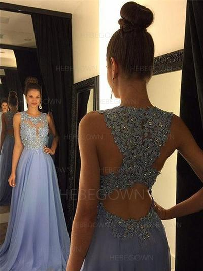 Flattering Prom Dresses A-Line/Princess Sweep Train Scoop Neck Sleeveless (018148487)