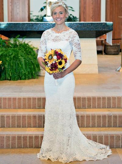 Chic Lace Wedding Dresses Trumpet/Mermaid Sweep Train Scoop Half Sleeves (002144928)