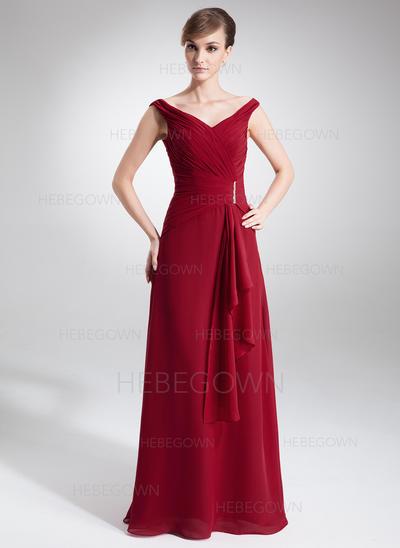 Chiffon Ärmellos Kleider für die Brautmutter Off-the-Schulter A-Linie/Princess-Linie Perlstickerei Gestufte Rüschen Bodenlang (008005640)