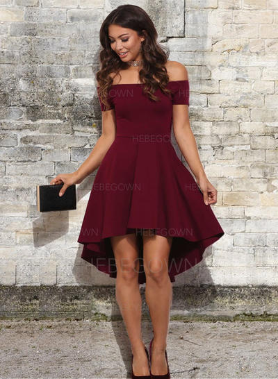 A-Line/Princess Ruffle Stretch Crepe Homecoming Dresses Off-the-Shoulder Short Sleeves Asymmetrical (022216389)