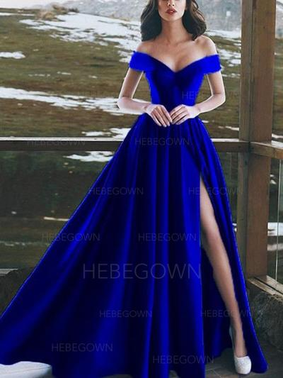 Luxurious Satin Prom Dresses A-Line/Princess Floor-Length Off-the-Shoulder Sleeveless (018218083)