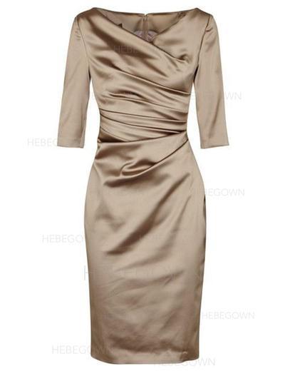 Satin 3/4 Sleeves Mother of the Bride Dresses V-neck Sheath/Column Ruffle Knee-Length (008146372)