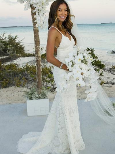 Stunning Lace Wedding Dresses Ball-Gown Sweep Train V-neck Sleeveless (002213527)