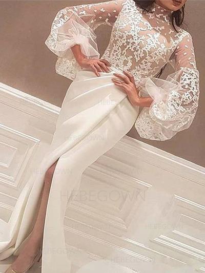 Modern Satin Prom Dresses Trumpet/Mermaid Sweep Train High Neck Long Sleeves (018218078)