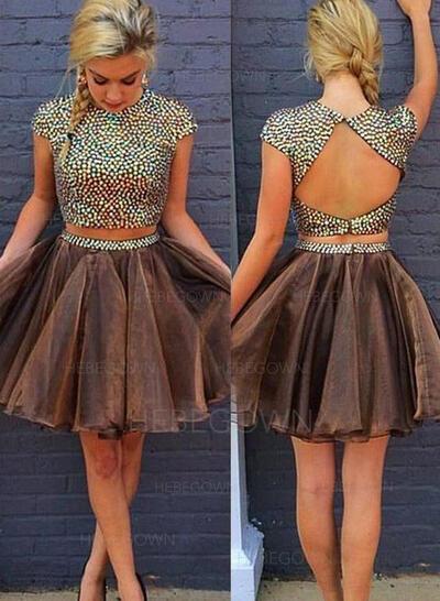 A-Line/Princess Beading Homecoming Dresses Scoop Neck Short Sleeves Detachable (022212260)