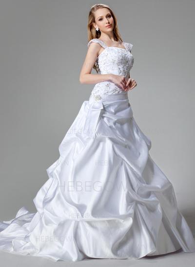 Satäng A-linjeformat Chapel släp Axelbandslös Bröllopsklänningar Ärmlös (002000436)