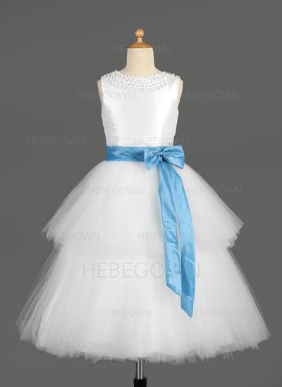 Sexy A-Linie/Princess-Linie Taft/Tüll Blumenmädchenkleider Wadenlang U-Ausschnitt Ärmellos (010014650)