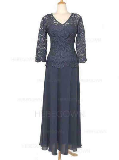 Chiffon Lace Long Sleeves Mother of the Bride Dresses V-neck A-Line/Princess Floor-Length (008146384)