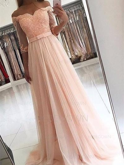 Magnificent Tulle Evening Dresses Sweep Train A-Line/Princess 3/4 Sleeves Off-the-Shoulder (017216977)