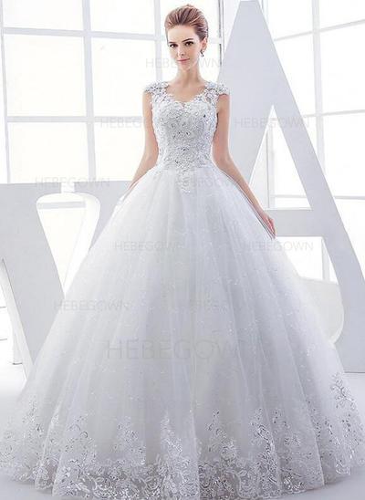 Tyll Balklänning Golvlång V-Ringning Bröllopsklänningar Ärmlös (002147918)