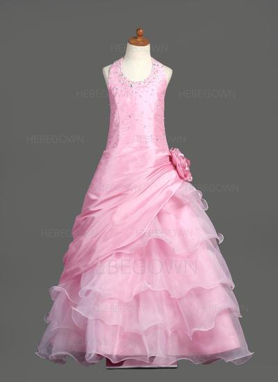 Umwerfend Duchesse-Linie Taft/Organza Blumenmädchenkleider Bodenlang U-Ausschnitt Ärmellos (010005778)