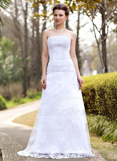 Spets A-linjeformat Sweep släp Axelbandslös Bröllopsklänningar Ärmlös (002000127)