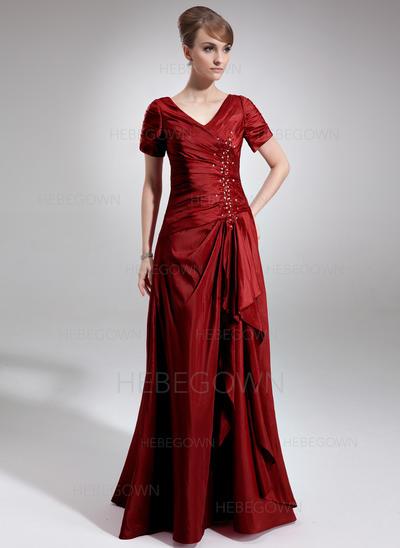 Taft Kurze Ärmel Kleider für die Brautmutter V-Ausschnitt A-Linie/Princess-Linie Perlstickerei Pailletten Gestufte Rüschen Bodenlang (008006337)