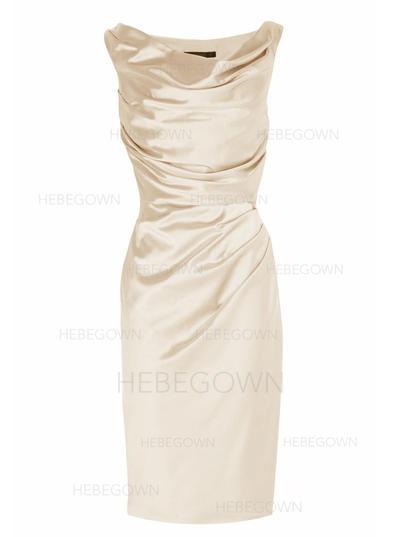 Charmeuse Sleeveless Mother of the Bride Dresses Cowl Neck Sheath/Column Ruffle Knee-Length (008146319)