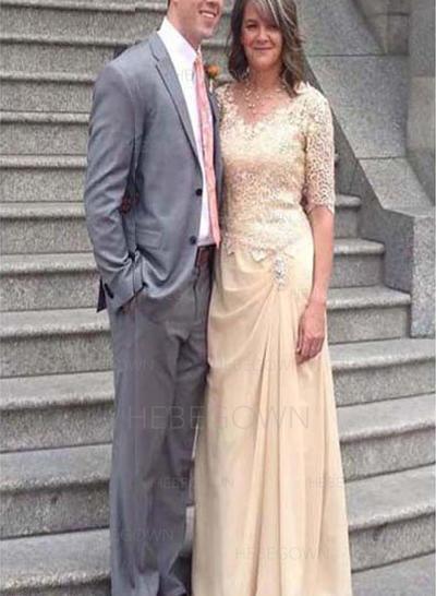 Chiffon 1/2 Sleeves Mother of the Bride Dresses V-neck A-Line/Princess Ruffle Floor-Length (008212781)