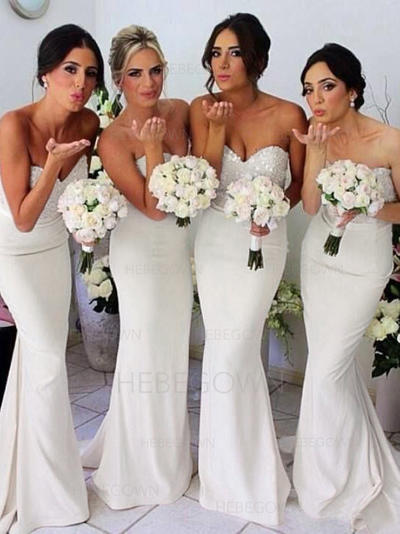 Bridesmaid Dresses Sweetheart Jersey Sheath/Column Sleeveless Sweep Train (007144957)