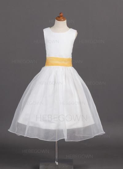 Glamourös A-Linie/Princess-Linie Organza/Satin Blumenmädchenkleider Wadenlang U-Ausschnitt Ärmellos (010007925)