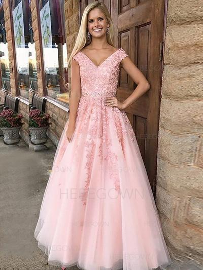 Chic Evening Dresses Floor-Length A-Line/Princess Sleeveless V-neck (017217098)