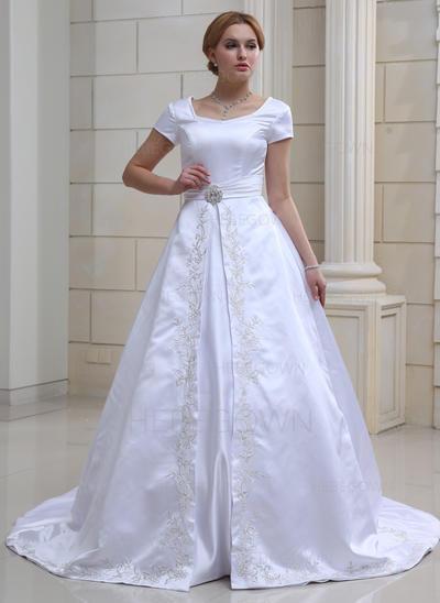 Elegant Satäng Bröllopsklänningar Balklänning Chapel släp Älsklingsringning Korta Ärmar (002001632)