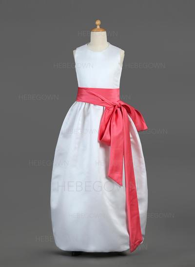 Prinzessin Duchesse-Linie Satin Blumenmädchenkleider Bodenlang U-Ausschnitt Ärmellos (010002144)