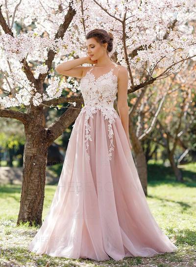 Chic Tulle Evening Dresses Floor-Length A-Line/Princess Sleeveless (017216972)