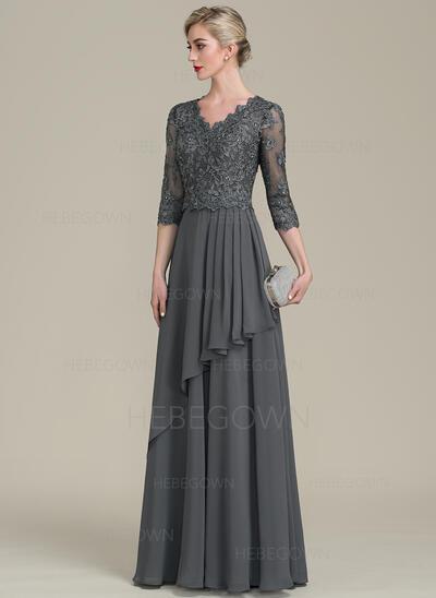 A-Linie/Princess-Linie V-Ausschnitt Bodenlang Chiffon Abendkleid mit Perlstickerei Pailletten Gestufte Rüschen (017113538)