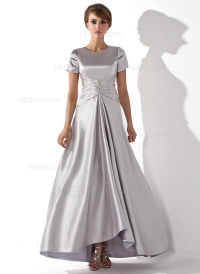 Charmeuse Short Sleeves Mother of the Bride Dresses Scoop Neck A-Line/Princess Ruffle Beading Asymmetrical (008211340)