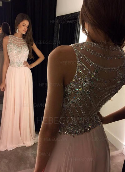 Sexy Chiffon Evening Dresses Floor-Length A-Line/Princess Sleeveless Scoop Neck (017216444)