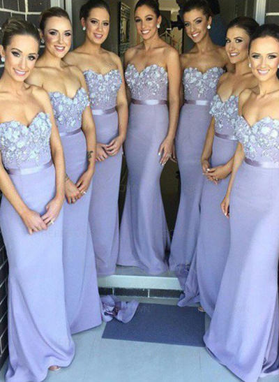 Bridesmaid Dresses Sweetheart Lace Jersey Trumpet/Mermaid Sleeveless Sweep Train (007145111)