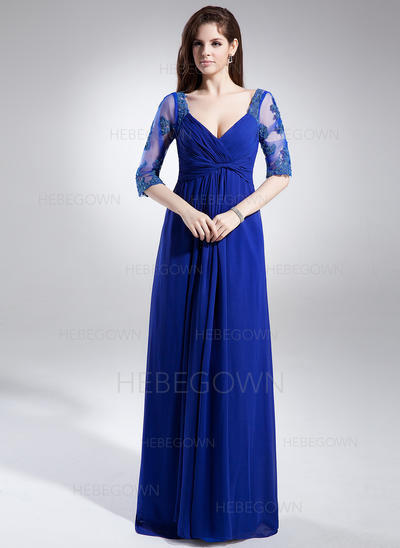 Chiffon 1/2 Ärmel Kleider für die Brautmutter V-Ausschnitt A-Linie/Princess-Linie Rüschen Spitze Perlstickerei Bodenlang (008006046)