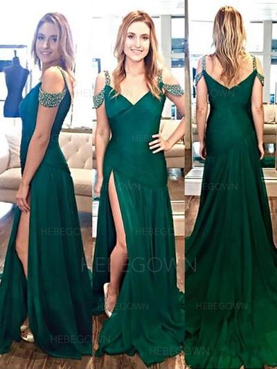 Magnificent Evening Dresses Sweep Train A-Line/Princess Sleeveless V-neck (017210887)