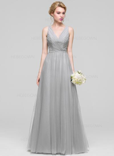 A-Linie/Princess-Linie V-Ausschnitt Bodenlang Tüll Abendkleid mit Rüschen Perlstickerei (017096357)