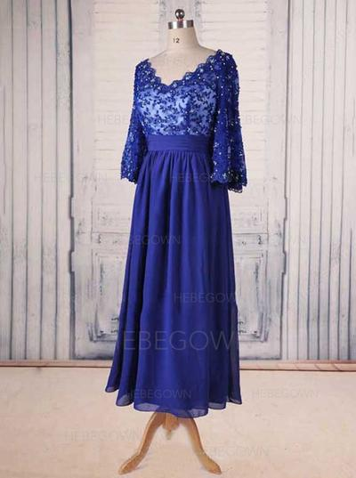 Chiffon Lace 3/4 Sleeves Mother of the Bride Dresses V-neck A-Line/Princess Ruffle Beading Ankle-Length (008146383)