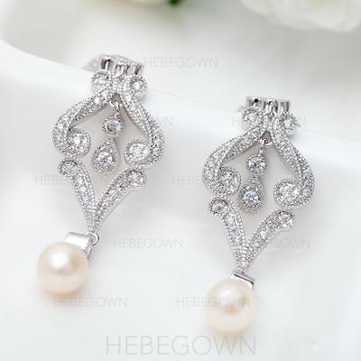 Ohrringe Kupfer/Zirkon/Platin überzogen Faux-Perlen Durchbohrt Damen Hochzeits- & Partyschmuck (011167036)