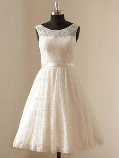 Modern Lace Wedding Dresses A-Line/Princess Knee-Length Scoop Sleeveless (002213532)