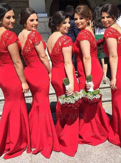 Bridesmaid Dresses V-neck Trumpet/Mermaid Sleeveless Sweep Train (007145091)