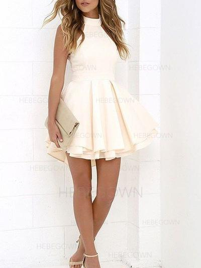 A-Line/Princess Ruffle Stretch Crepe Homecoming Dresses High Neck Sleeveless Short/Mini (022212375)