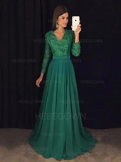 Magnificent Chiffon Evening Dresses Sweep Train A-Line/Princess Long Sleeves V-neck (017216999)
