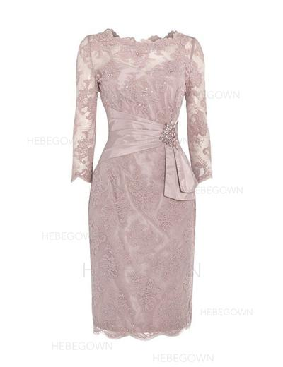 Lace 3/4 Sleeves Mother of the Bride Dresses Scoop Neck Sheath/Column Ruffle Beading Sequins Knee-Length (008146389)