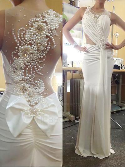 Prächtig Jersey Brautkleider Trompete/Meerjungfrau-Linie Sweep/Pinsel zug U-Ausschnitt Ärmellos (002147844)