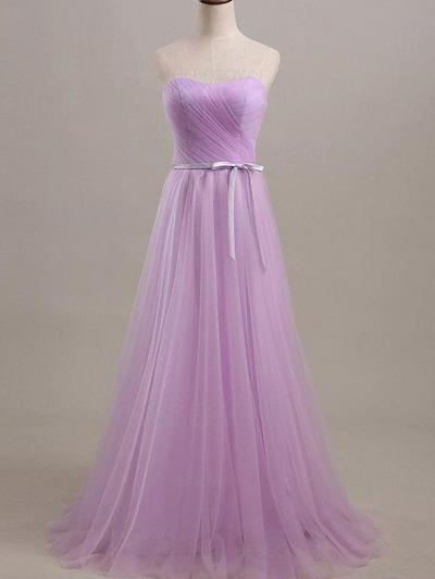 Bridesmaid Dresses Sweetheart Tulle A-Line/Princess Sleeveless Floor-Length (007212140)