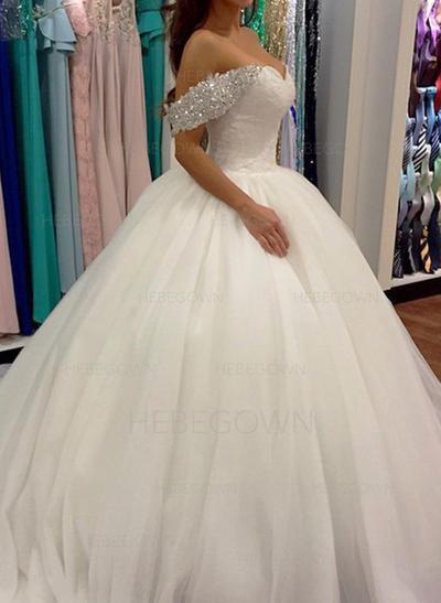 Feinfühlig Tüll Brautkleider Duchesse-Linie Sweep/Pinsel zug Off-the-Schulter Ärmellos (002148001)