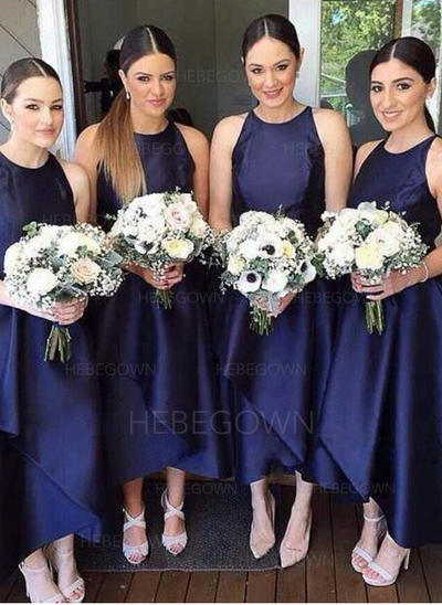 Bridesmaid Dresses Scoop Neck A-Line/Princess Sleeveless Asymmetrical (007211699)