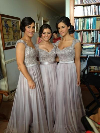 Bridesmaid Dresses Sweetheart Chiffon Lace A-Line/Princess Sleeveless Floor-Length (007144605)