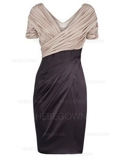Chiffon Satin Short Sleeves Mother of the Bride Dresses V-neck Sheath/Column Ruffle Knee-Length (008146367)